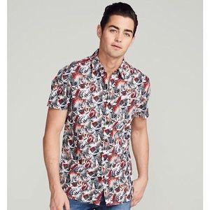 ADAM LEVINE Japanese Crane Print Shirt - XL